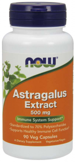 Astragalus extrakt 500mg, 90 kapslí, Now foods